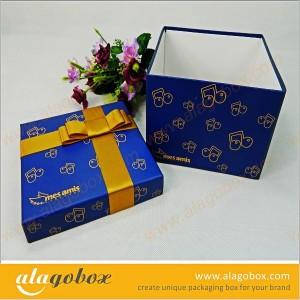 innovative dark blue gift box with ribbon