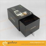 consumer electronics packaging for mobile phone with black drawer