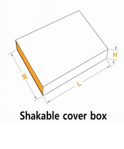 Shakable cover box with size