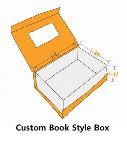 custom book style box with window