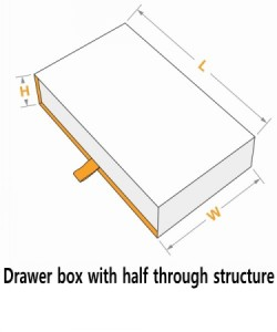 Drawer box with half through structure with tab