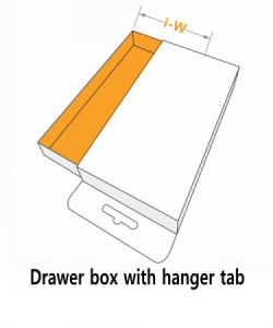 Drawer box with hanger tab
