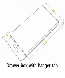 Drawer box with hanger tab hole