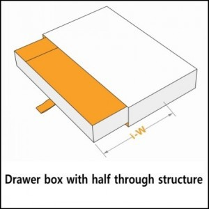 drawer box with half through structure