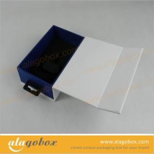 custom book style box with plastic tab