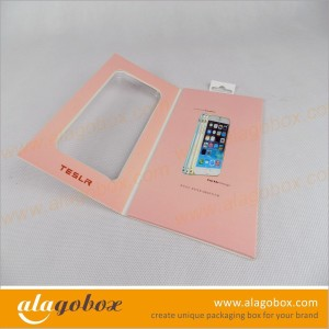 custom book style box for tempered glass screen protector