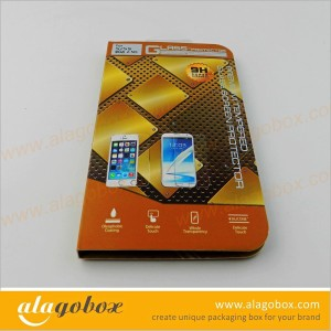 custom tempered glass screen protector packaging box with plastic tab