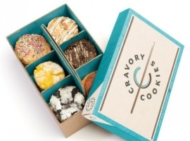 blue and brown cookie boxes