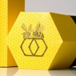 hexagon honey box with bottle