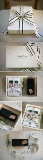 top and bottom box with ribbon for album