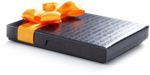 wallet gift box with ribbon