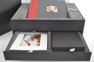 wedding album box with drawer