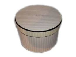 hat boxes with stripe