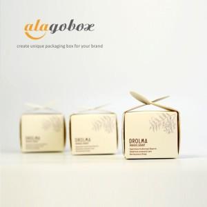 handmade soap packaging with leaf artwork