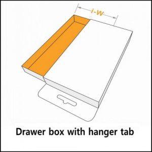 drawer box with hanger tab